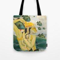mermaid Tote Bags featuring MERMAID by Julia Lillard Art