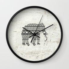 Aztec Tribal Elephant Black White Vintage Wood  Wall Clock