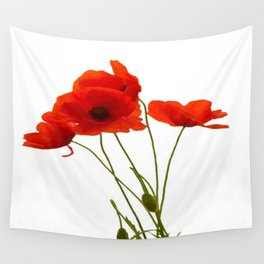 Delicate Red Poppies Vector Wall Tapestry