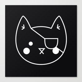 Catz // Black Cat with an Eyepatch, Black Backdrop Canvas Print