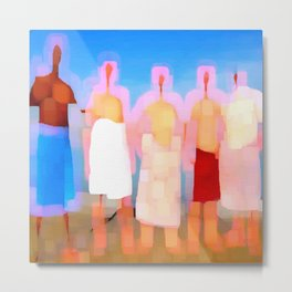 five naked men with bath towels Metal Print