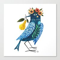 oana befort Canvas Prints featuring BLUE BIRD by Oana Befort