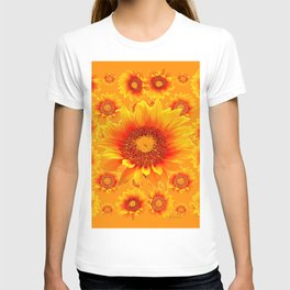 Decorative Golden Sunflowers Abstracted Floral Art T-shirt