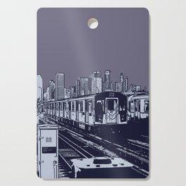 New York, NYC, Subway Train Yard at Night. (Photo collage, travel, gritty streets, graffiti) Cutting Board