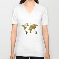 world map V-neck T-shirts featuring world map by haroulita