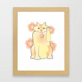 Sakura Lucky Cat Framed Art Print