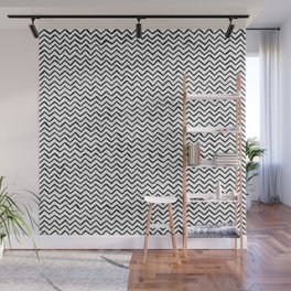 Black & White Hand Drawn ZigZag Pattern Wall Mural