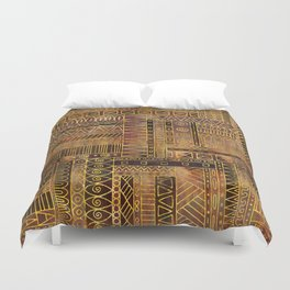 Tribal  Ethnic Boho Pattern gold and brown Duvet Cover