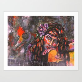 Layla and Her Guitar Art Print