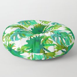 Abstract hand painted forest green watercolor tropical leaves Floor Pillow