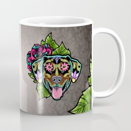 Doberman with Floppy Ears - Day of the Dead Sugar Skull Dog Coffee Mug