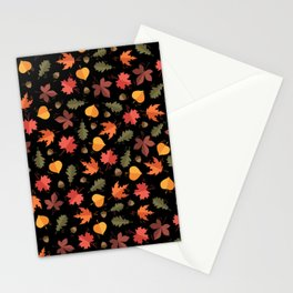 Autumn Leaves Pattern Black Background Stationery Cards