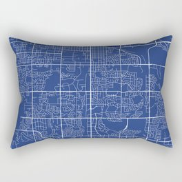 Fort Collins Map, USA - Blue Rectangular Pillow