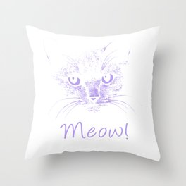 Meow! Simple Cat Style pu Throw Pillow