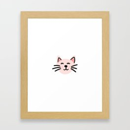 Cute pink cat Framed Art Print