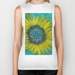 Sunflowers on Turquoise II Biker Tank
