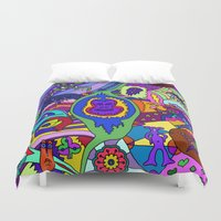 psychadelic Duvet Covers featuring Abstract 18 by Linda Tomei