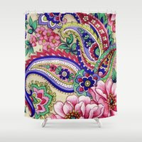 deco Shower Curtains featuring Floral Deco by Elena Indolfi