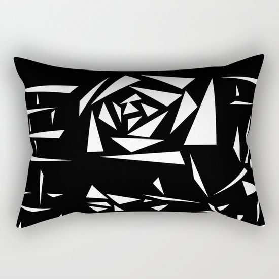 Black and white abstract pattern of Roses. Triangles .1 Rectangular Pillow
