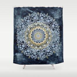 Blue Floral Mandala Shower Curtain