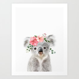 Baby Koala with Flower Crown Art Print
