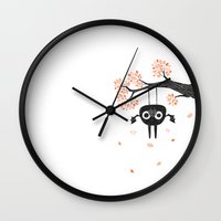 bat Wall Clocks featuring Bat by Yllya