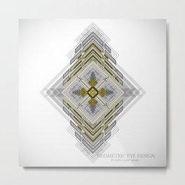 Yellow and grey diamond shape aztec geometric Metal Print