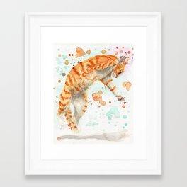 Pouncing Cat Framed Art Print