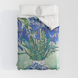 Iris Bouquet in Chinoiserie Vase on Blue and White Striped Tablecloth on Painterly Mint Green Comforters