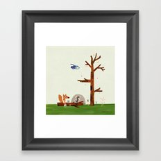 Owl flies by Fox and Mouse on a log in the woods Framed Art Print