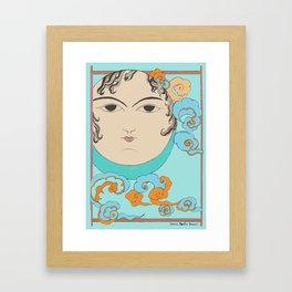 Turquoise Moon face Framed Art Print