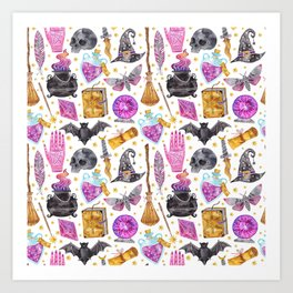 Pink gold black watercolor hand painted halloween pattern Art Print