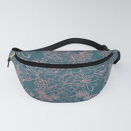 Luxury floral coral strokes doodles design Fanny Pack