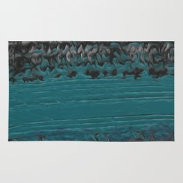 Teal and Gray Abstract Rug