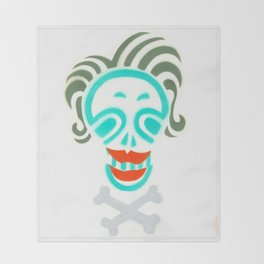 Skull_Happy Crazy Hair Lady Throw Blanket