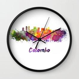 Colombo skyline in watercolor Wall Clock