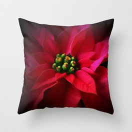 A Poinsettia Portrait Throw Pillow