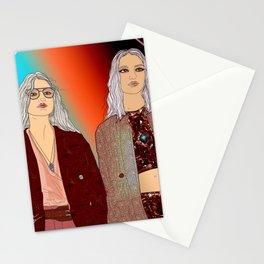 Social Jetlag - Mean Girls Stare, Nice Girls Smile - Digital Art Stationery Cards