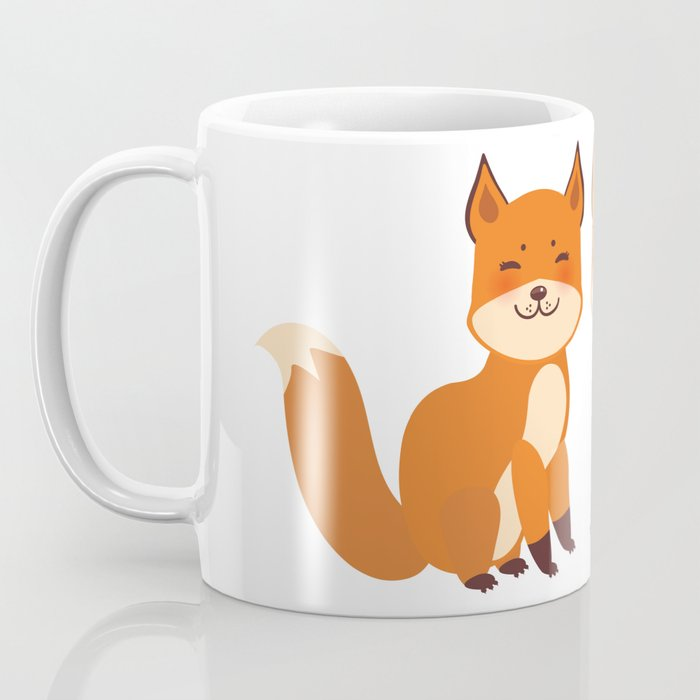 cute fox, boy and girl with funny face and fluffy tails on white background Coffee Mug
