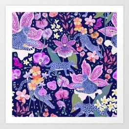 Blue Leopards in an Orchid Garden (dark background) Art Print