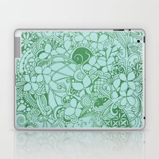 Blue square, green floral doodle, zentangle inspired art pattern Laptop & iPad Skin