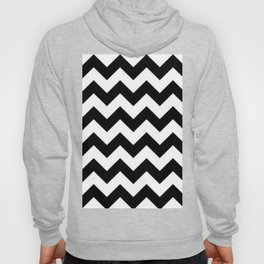 BLACK AND WHITE CHEVRON PATTERN - THICK LINED ZIG ZAG Hoody