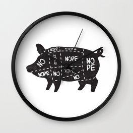 alternative pig meat cut chart vegan and vegetarian Wall Clock