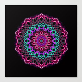 Project 208 | Colorful Mandala on Black Canvas Print