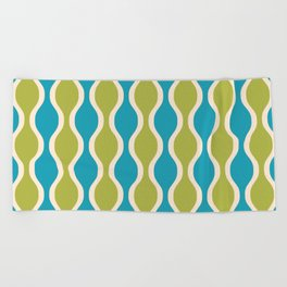 Classic Retro Ogee Pattern 852 Turquoise and Olive Beach Towel