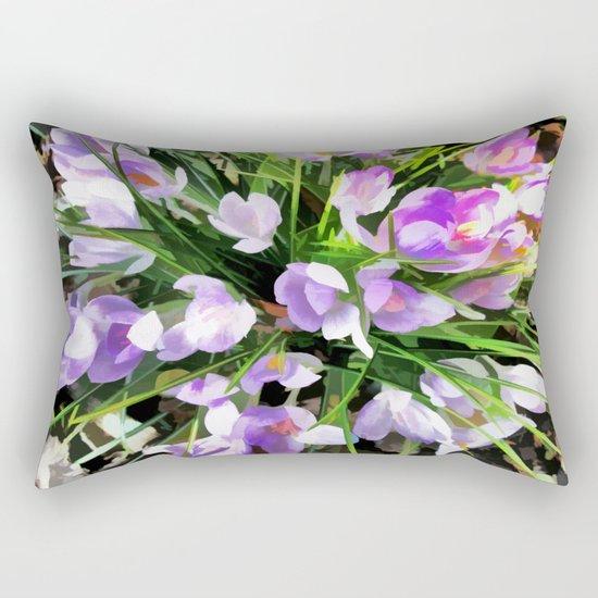 Soft Painterly Crocuses Rectangular Pillow