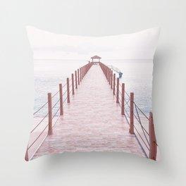 Pier Coastal View Throw Pillow