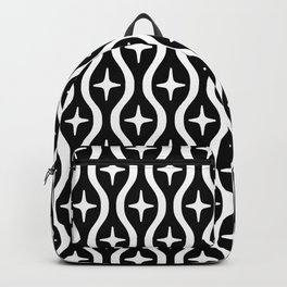 Mid century Modern Bulbous Star Pattern Black and White Backpack