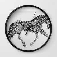 lee pace Wall Clocks featuring Paisley Pace by Caballos of Colour