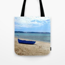 Blue boat in Greece Tote Bag